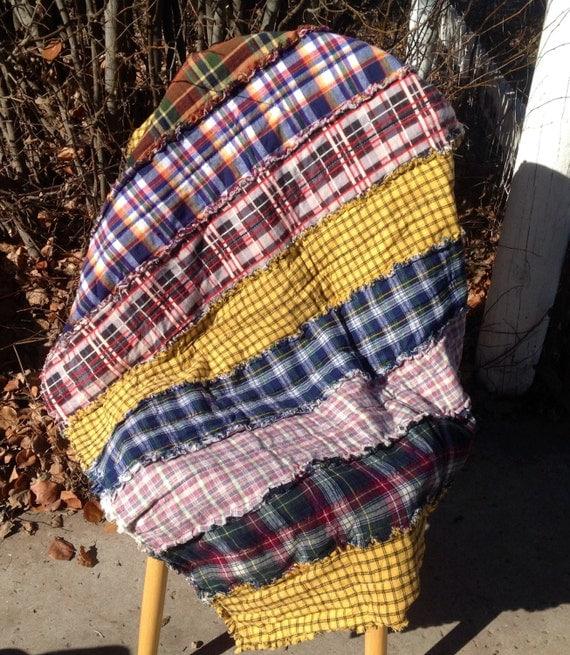 Rag Strip Lap Quilt Cotton Flannel By Henhousemarketplace