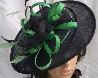 Black & Spring green shaped Fascinator  Hat on a Headband..for Wedding,Races