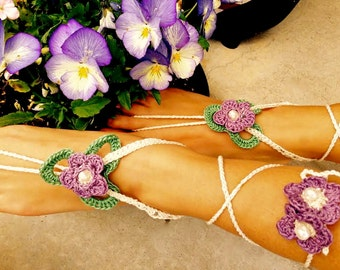 Barefoot Sandals; Crocheted Violets