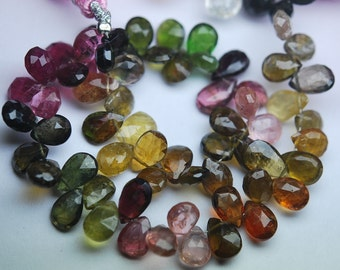 74 Carats,8 Inch strand Super-FINEST,Multi Tourmaline faceted PEAR briolettes 7.5-9mm