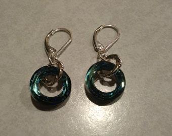 Swarvoski  14 mm cosmic ring sterling silver earrings