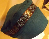 320 Teal with Brown Ribbon 100% Linen Turban Snood Cap Head Cover