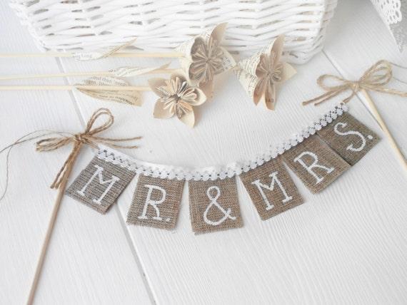 Rustic Mr & Mrs Wedding cake topper,