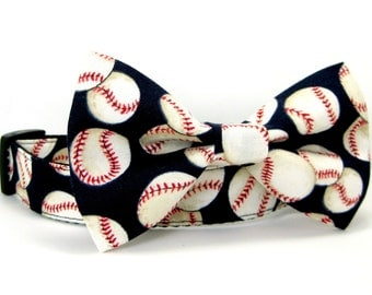 Baseball Dog Collar with bow tie set(Mini,X-Small,Small,Medium ,Large or X-Large Size)- Adjustable