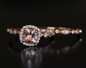 Rose Gold Morganite Ring Morganite Engagement Ring Pink Morganite Cushion 6mm and Diamond Wedding Ring Set