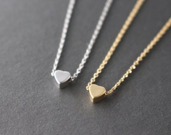 SALE: 25% OFF - Tiny Heart necklace - Silver or Gold