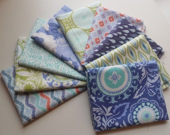 Sunnyside Blue, Purple, & Green Fat Quarter Bundle (9 FQs, 2.25 yards total) - Kate Spain for Moda