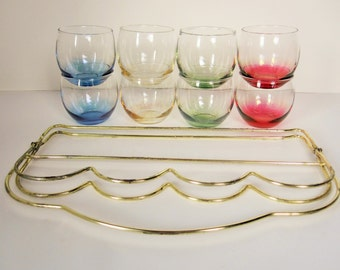 A Full Set of Eight Roly Poly Glasses With Brasslook Collapsible Holder - Multi-colored Glasses - Libbey -  Metal Grip Holder