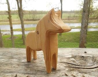 Hand carved Dala Horse Natural wood Dala horse Dala figurine Swedish folk art
