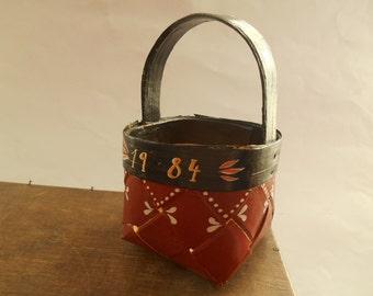 Vintage Swedish basket Small Square basket Handmade Scandinavian wicker basket Painted floral basket 1984