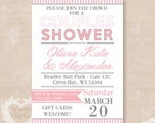 Cottage Chic Couples Shower Invitations - Printable Couples Shower Invitations - Striped Modern Invitations