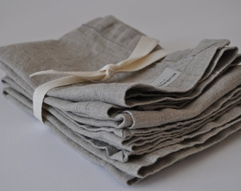 Rustic Washed Linen Dinner Napkins set of 4