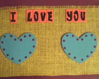 I Love You Heart Wall Hanging Sign Plaque Turquoise Plum