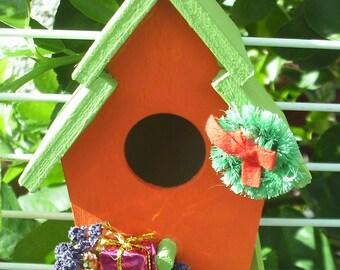 Retro Bird House Lime Green Roof/Orange House (14)