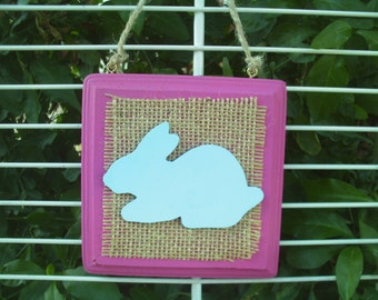 Easter Bunny Square Wall Hanging Plaque Blue/Fuchsia