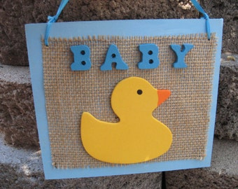 Baby Wall Hanging Sign Plaque Blue