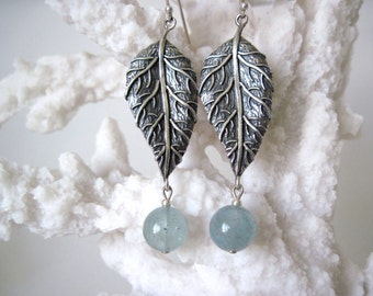aquamarine and silver earrings