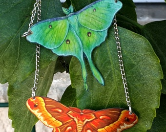 Butterfly Luna Moth Promethea Silkmoth Green Brown Nature Metallic Necklace