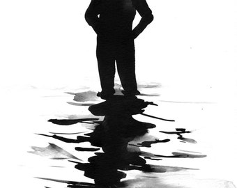 "Figure Water Ink Drawing Haunting Gothic Dark Shadow Silhouette Fine Art ""Immersion No. 26"""