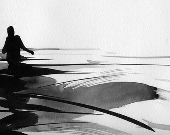 "Figure Water Ink Drawing Gothic Dark Shadow Silhouette Fine Art ""Immersion No. 48"""