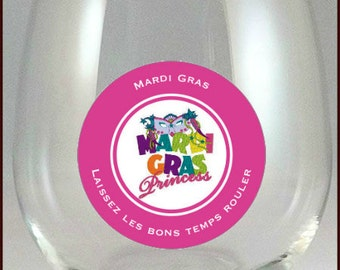 Mardi Gras Wine Glass Charms - Mardi Gras Glass Tags - Glass Labels - Glass Decals - Mardi Gras Party Favors - Glass Not Included