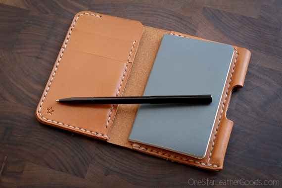 "Small notebook wallet and pen ""Park Sloper Junior"" bridle leather - tan"
