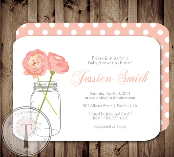 mason jar invitation baby shower invitation wedding shower mason