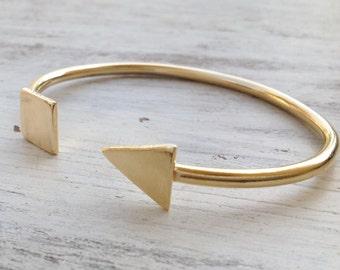 Open Bangles,Gold Bracelet,Open Bangle Bracelet, Stacking Bangle, Triangle bracelet, Adjustable Bracelet,gift for women - 21021