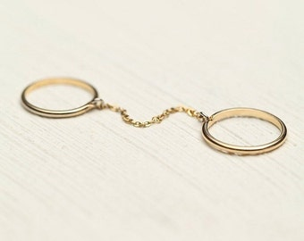 Chain Linked Double Ring, Double finger ring, Chain Ring, Gold Ring, Thin Ring
