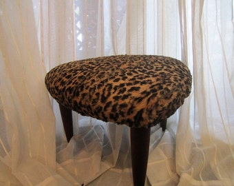 Mid Century Modern 3-Legged Stool with Faux Leopard Upholstered Top, ca 1950s