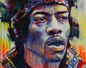 Jimi Hendrix I- print on Canvas, Giclée
