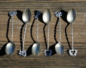 Vintage Demitasse Spoons Twisted Handles Sterling Silver Set of 6 Mixed Lot Vintage Sterling Flatware DAINTY