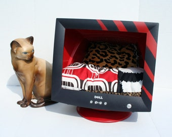 Computer Dog Bed Upcycled Computer Monitor Pet Bed Red and Black Cat Bed Empty Computer Bed Geekery Black and Red Cat Decor