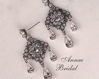 "Victorian bridal earrings, wedding, antiqued silver and rhinestone earrings, Swarovski, Bridal, wedding, ""Antique Elegance"" earrings"