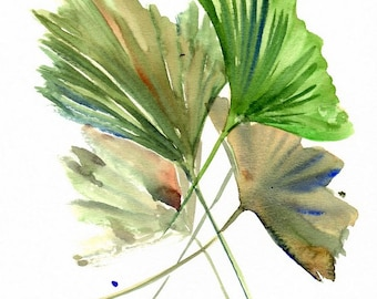 Gingko Biloba Painting, herbs,  leaves, original minimalist watercolor art, 12 x 9 in