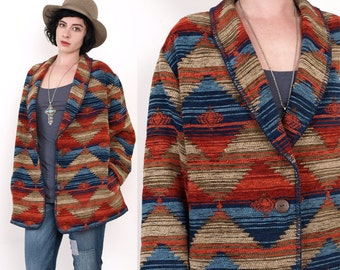 90's Tribal SouthWestern Ethnic Blanket Woven Shawl Collar Oversized Vintage Jacket Large
