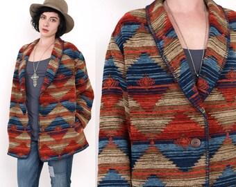 90's Tribal SouthWestern Ethnic Blanket Woven Shawl Collar Oversized Vintage Jacket Large