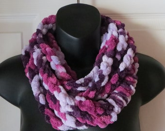 Chunky Chenille Infinity Scarf..Cowl..Neck Warmer..Crochet Chain Necklace..Accessory..Gift