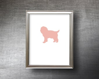 Maltipoo Art 8x10 - Hand Cut Maltipoo Silhouette Print - 4 Color Choices - Personalized Name or Text Optional
