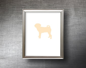 Puggle Art 8x10 - (Version 2) - UNFRAMED Hand Cut Puggle Silhouette Print - 4 Color Choices - Personalized Name or Text Optional