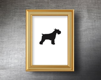 Schnauzer Wall Art 5x7 - UNFRAMED Hand Cut Schnauzer Silhouette Portrait - Personalized Name or Text Optional