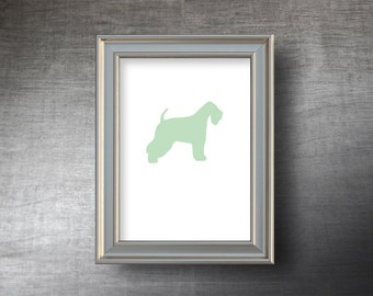 Wheaten Terrier Print 5x7 - UNFRAMED Hand Cut Wheaten Terrier Silhouette - 4 Color Choices - Personalized Name or Text Optional