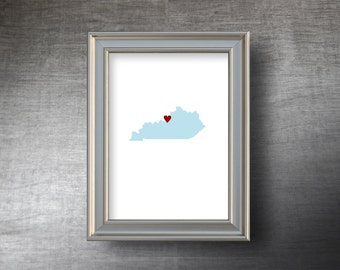 Kentucky Map Art 5x7 - 4 Color Choices - UNFRAMED Die Cut Silhouette - Kentucky Print - Personalized Text Optional