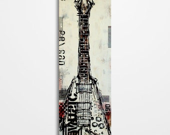 Guitar art, Music painting, Gift for a musician, Original textured red, black and white guitar painting on 36x12 inch canvas MADE TO ORDER