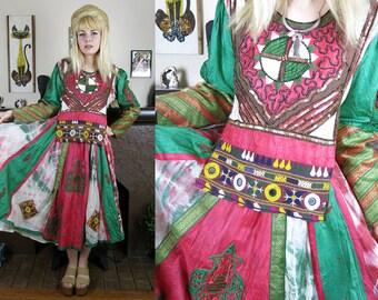 RARE Vintage Kuchi Afghan KOHISTAN Dress- Bohemian Hippie Tie Dye Silk Heavily Embellished, Corset Back Ethnic Tribal Gown- M/L