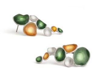 Translucent Lime Green & Earthy Orange Branch Earrings, Womens Woodland Earrings Gift, Hypoallergenic, 3D Radiant Crystal Resin Stud Earring