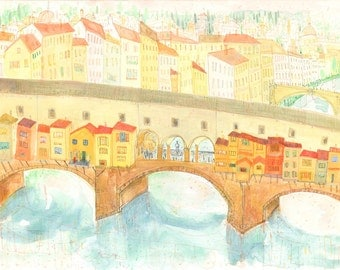 Florence Painting, Ponte Vecchio Art Print, Limited Edition Giclee, Florence Watercolor, Florence Italy Drawing, Firenze, Clare Caulfield