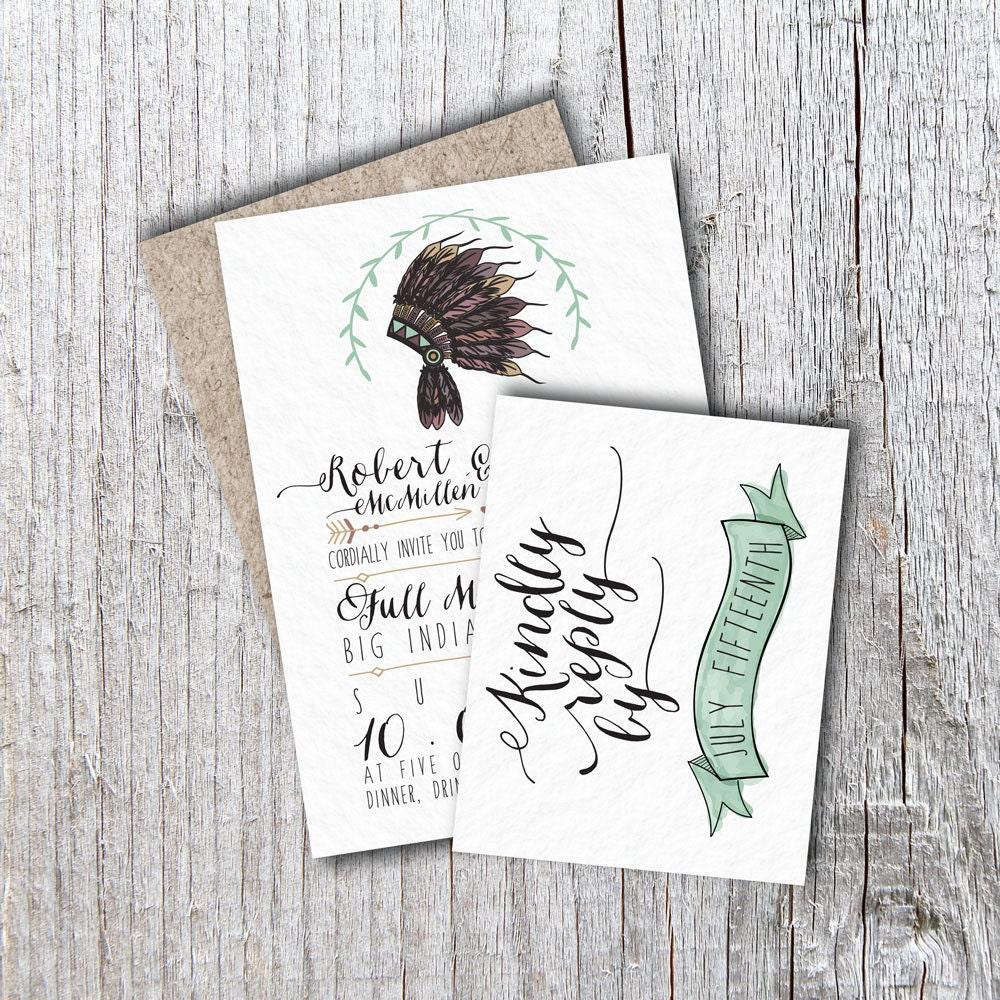 Native American Wedding Invitations: Rustic Wedding Invitation Native American By Housemanpaperco
