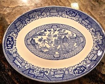 Vintage 1950s Blue Willow Platter - Blue & White China