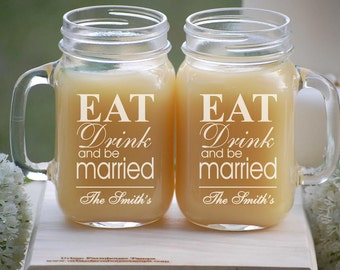 Eat Drink and Be Married, Mason Jar Tumblers, Mason Jars Bulk, Rustic Wedding, Wine Glasses, Mason Jar Drinking Glasses, Mason Jars